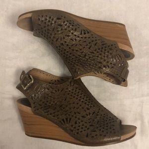 Pikolinos Brown Laser Cut Leather Wedge Sandals